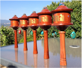 Five handheld prayer wheels